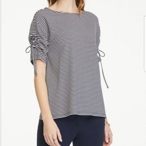 Ann Taylor Factory L stripe ruched tie sleeve